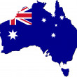 Map of Australia with national flag — Stock Photo
