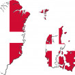 Map of Denmark (with Greenland and Faroe Islands) with national  — Stock Photo