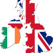 Stock Photo: Map of UK and Ireland with national flags