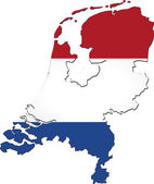 Map of Netherlands with national flag — Stock Photo