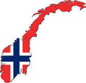 Map of Norway with national flag — Stock Photo
