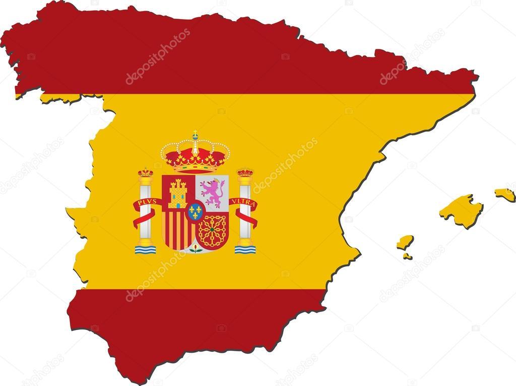 西班牙的国旗与地图