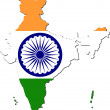 Map of India with national flag - Stock Vector