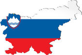 Map of Slovenia with national flag — Stock Vector