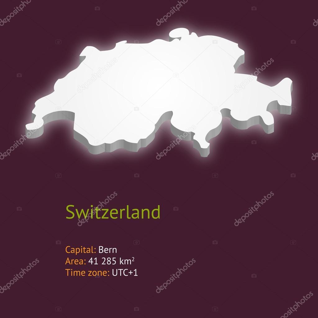 瑞士紫色背景上孤立的 3d 地图 — 矢量图片作者 issumbosi