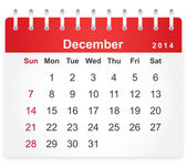 Stylish calendar page for December 2014 — Stock Vector