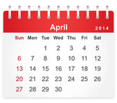 Stylish calendar page for April 2014 — Stock Vector