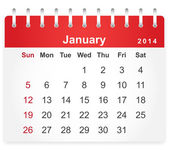 Stylish calendar page for January 2014 — Vettoriale Stock