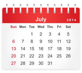 Stylish calendar page for July 2014 — Stock Vector
