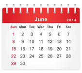 Stylish calendar page for June 2014 — Stock Vector