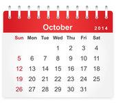 Stylish calendar page for October 2014 — Stock Vector