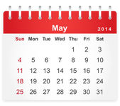 Stylish calendar page for May 2014 — Stock Vector