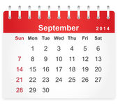 Stylish calendar page for September 2014 — Vector de stock