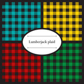 Conjunto de padrões de xadrez lenhador — Vetor de Stock