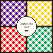 Set of tilted gingham plaid patterns — Stock Vector