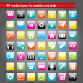 Colorful media icons for mobile and web — Stock Vector