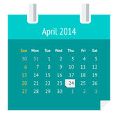 Flat calendar page for April 2014 — Stock Vector
