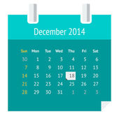 Flat calendar page for December 2014 — Stock Vector