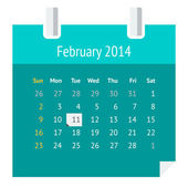 Flat calendar page for February 2014 — Stock Vector