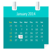 Flat calendar page for January 2014 — Stock Vector