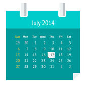 Flat calendar page for July 2014 — Stock Vector