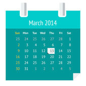 Flat calendar page for March 2014 — Stock Vector