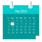 Flat calendar page for May 2014 — Stock Vector