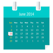 Flat calendar page for June 2014 — Stock Vector