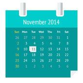 Platte agendapagina voor november 2014 — Stockvector