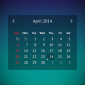 Calendar page for April 2014 — Stock Vector