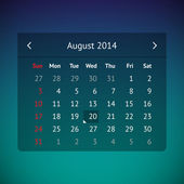 Calendar page for August 2014 — Stock Vector