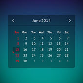 Calendar page for June 2014 — Vector de stock