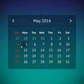 Calendar page for May 2014 — Vector de stock