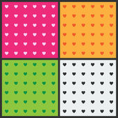 Set of seamless patterns with hearts — Stock Vector
