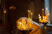 Divine service in an orthodox temple — Stock Photo
