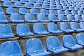Blue stadium seats with numbering — Stock Photo