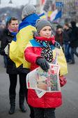 KIEV, UKRAINE - 4 DECEMBER: Protest on Euromaydan in Kiev against the president Yanukovych — Stock Photo