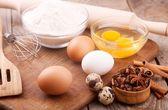 Eggs and flour — Stock Photo