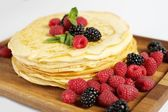 Pancakes with berries — Stock Photo