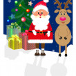 Santa Claus and his deer - Stock Vector