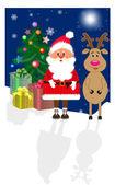 Santa Claus and his deer — Stock Vector