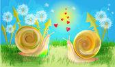 Snales in love — Stock Vector