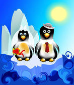 Penguin newlyweds traveling on an iceberg — Stock Vector