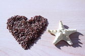 Heart from seeds and a starfish. — Stock Photo