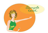 The girl on an orange background. — Stock Vector