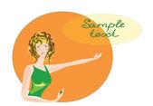 La chica sobre un fondo naranja. — Vector de stock