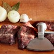 Liver beef and chopped hammer. — Stock Photo