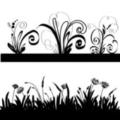 Silhouette of a grass and decorative elements. — Stock Vector