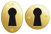 Brass keyhole — Stock Vector