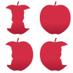 Red apple profile bites — Stock Vector #18843043
